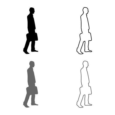 Businessman with briefcase step forward Man with a business bag in his hand silhouesse icon set grey black color vector illustration outline flat style simple image