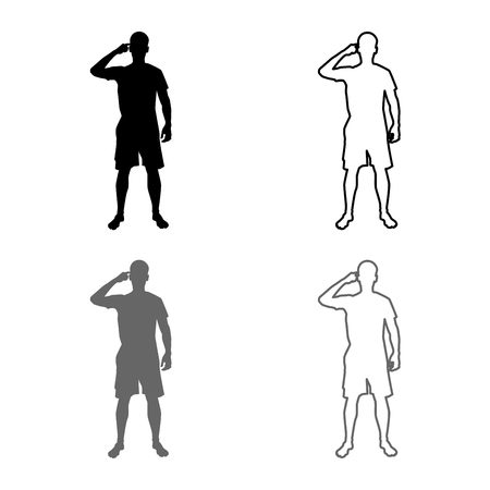 Man pointing at the temple with a finger silhouette front view Need thinking concept icon set grey black color vector illustration outline flat style simple image