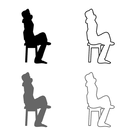 Man sitting pose with hands behinds head Young man sits on a chair with his leg thrown silhouette icon set grey black color vector illustration outline flat style simple image
