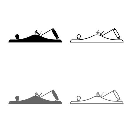 Jack plane Smoothing plane Carpenter tool symbol Hand tool for carpentry icon set grey black color vector illustration outline flat style simple image Иллюстрация