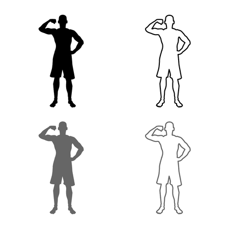 Bodybuilder showing biceps muscles Bodybuilding sport concept silhouette front view icon set grey black color vector illustration outline flat style simple image