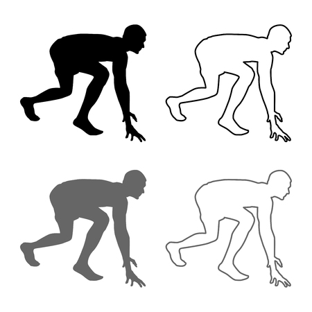 Runner preparing to start running Start running Runner in ready posture to sprint silhouette Ready to start icon set grey black color vector illustration outline flat style simple image