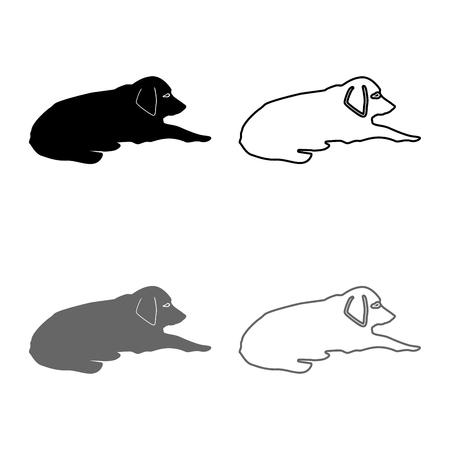Cane sdraiato sulla strada Pet sdraiato a terra Rilassato doggy icon set grigio colore nero illustrazione vettoriale profilo piatto stile semplice immagine Vettoriali