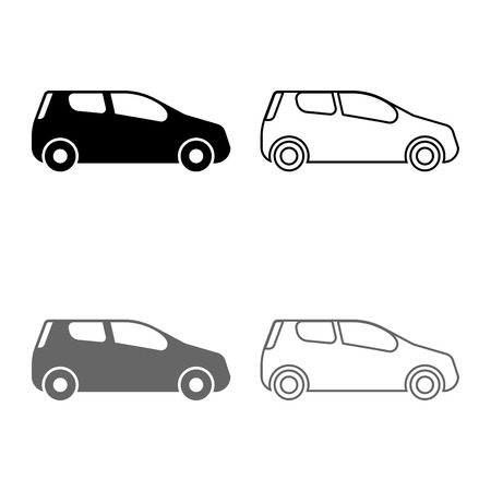 car Compact shape for travel racing icon set grey black color vector illustration outline flat style simple image