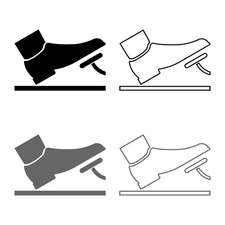 Foot pushing the pedal gas pedal brake pedal auto service concept icon set grey black color vector illustration outline flat style simple image Illustration