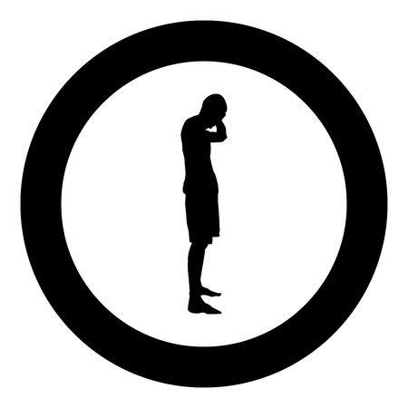 Man covering his ears silhouette side view Closing concept ignore icon black color vector illustration flat style simple imagein circle round Stock Illustratie
