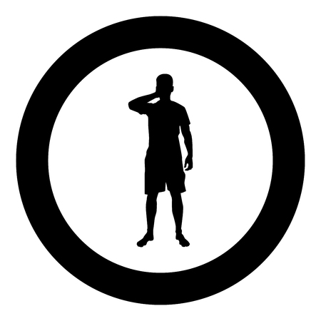Man closing his eyes his hands silhouette front view icon black color vector illustration flat style simple imagein circle round 일러스트