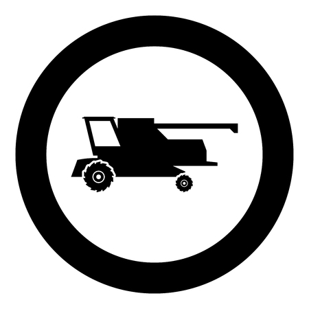 Farm harvester for work on field Combine icon black color vector illustration flat style simple imagein circle round