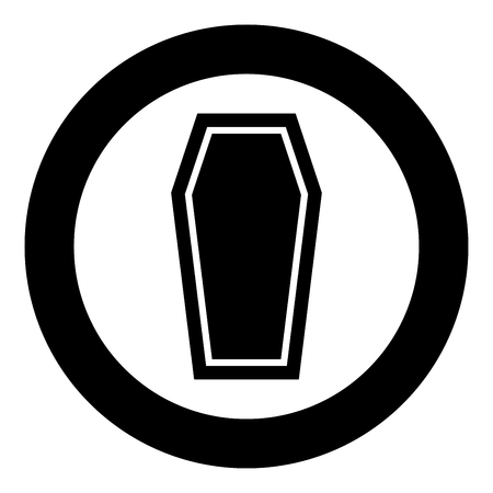 Coffin Insurance concept Funeral subject Lid coffin icon black color vector illustration flat style simple imagein circle round