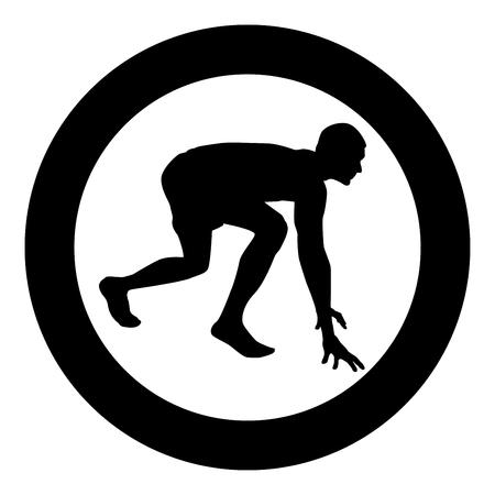 Runner preparing to start running Start running Runner in ready posture to sprint silhouette Ready to start icon black color vector illustration flat style simple imagein circle round Stock Illustratie