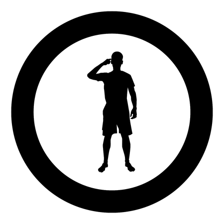 Man pointing at the temple with a finger silhouette front view Need thinking concept icon black color vector illustration flat style simple imagein circle round Illustration