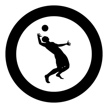 Volleyball player hits the ball with top silhouette side view Attack ball icon black color vector illustration flat style simple imagein circle round Illustration