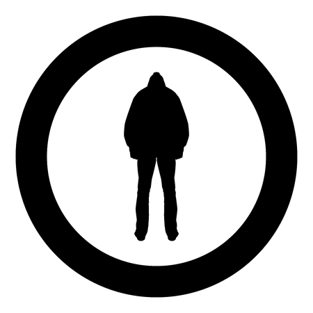Man in the hood concept danger silhouette back side icon black color vector illustration flat style simple imagein circle round Vettoriali