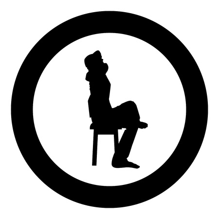 Man sitting pose with hands behinds head Young man sits on a chair with his leg thrown silhouette icon black color vector illustration flat style simple imagein circle round