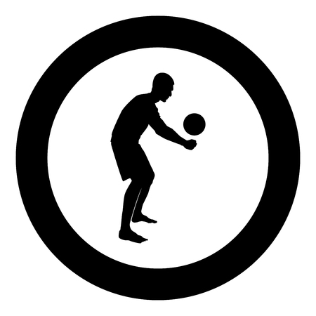 Volleyball player hits the ball with bottom silhouette side view Attack ball icon black color vector illustration flat style simple imagein circle round