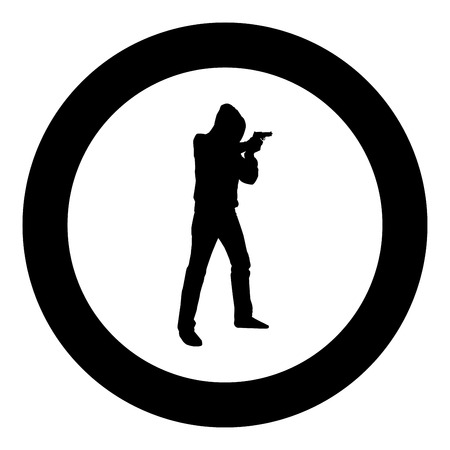 Man in the hood with gun Concept danger short arm icon black color vector illustration flat style simple imagein circle round