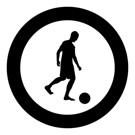 Man kicks the ball silhouette Soccer player kicking ball side view icon black color vector illustration flat style simple imagein circle round