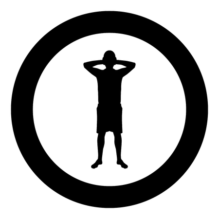 Man covering his ears silhouette front view Closing concept ignore icon black color vector illustration flat style simple imagein circle round