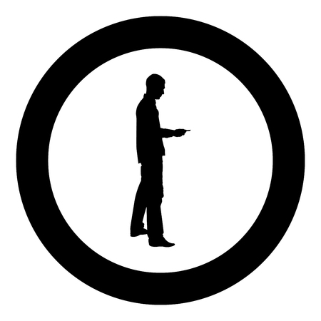 Man passes the card Business pay credit card silhouette icon black color vector illustration flat style simple imagein circle round Illustration