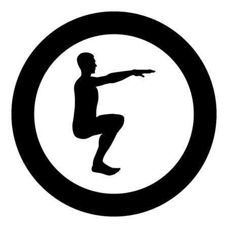 Crouching Man doing exercises crouches squat Sport action male Workout silhouette side view icon black color vector illustration flat style simple imagein circle round Stock Illustratie