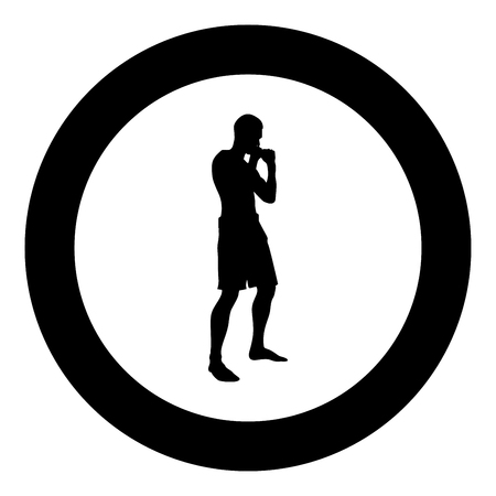 Fighter in fighting stance Man doing exercises Sport action male Workout silhouette side view icon black color vector illustration flat style simple imagein circle round