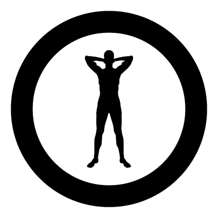 Concept relax Sportsman doing exercise Man holds hands behind head icon black color vector illustration flat style simple imagein circle round
