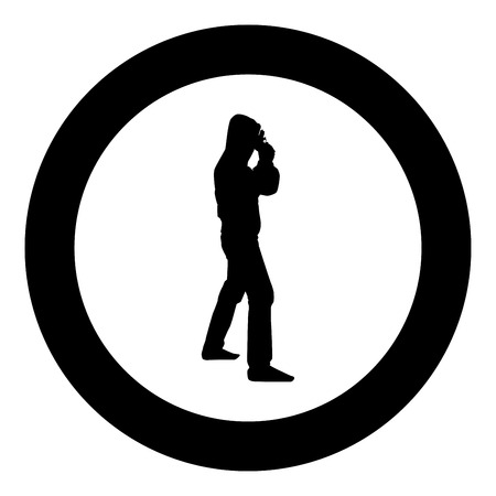 Man in the hood with gun Concept danger short arm near head icon black color vector illustration flat style simple imagein circle round