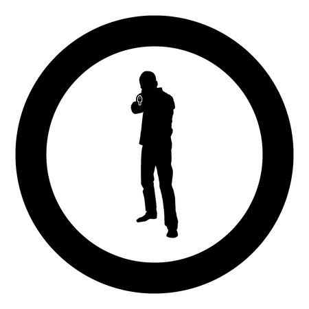 Man with gun silhouette criminal person concept front view icon black color vector illustration flat style simple imagein circle round Çizim