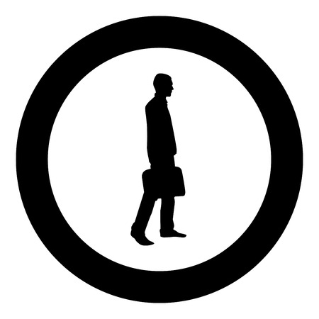 Businessman with briefcase step forward Man with a business bag in his hand silhouesse icon black color vector illustration flat style simple imagein circle round Vector Illustration