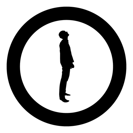 Man looks up silhouette icon black color vector illustration flat style simple imagein circle round Ilustração