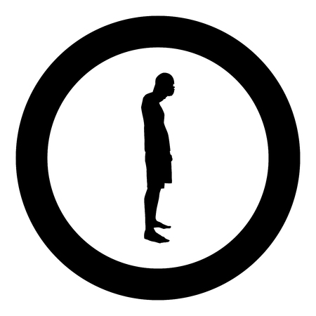 Man closing his eyes his hands silhouette side view icon black color vector illustration flat style simple imagein circle round