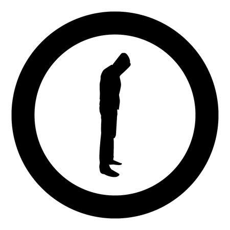 Man in the hood concept danger silhouette side view icon black color vector illustration flat style simple imagein circle round Illustration