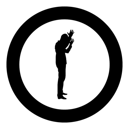 Concept of failure what is it for me problem Man raised hands silhouette icon black color vector illustration flat style simple imagein circle round Illustration