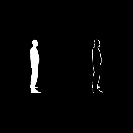 Man stands dressed in work clothes overalls and looks straight icon set white color illustration flat outline style simple image Illusztráció