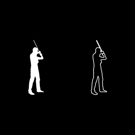 Man with bandana on his face that hides his identity man holds stick in hand Concept of rebellion Concept protest and danger icon set white color illustration flat outline style simple image
