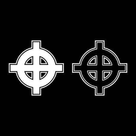 Celtic cross white superiority icon set white color illustration flat outline style simple image Иллюстрация