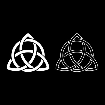 Triquetra in circle Trikvetr knot shape Trinity knot icon set white color illustration flat outline style simple image