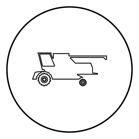 Farm harvester for work on field Combine icon black color outline vector illustration flat style simple image in circle round Illustration