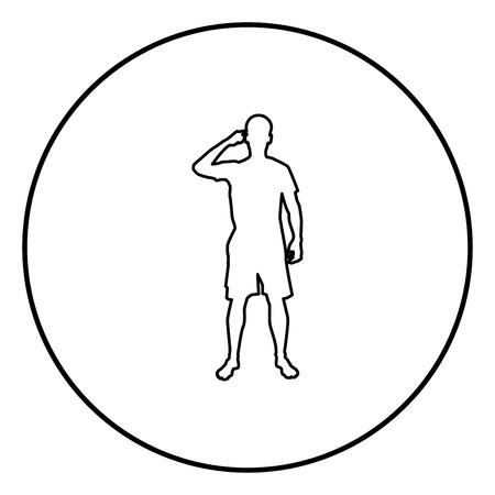 L'homme pointant sur le temple avec un doigt silhouette vue avant Besoin de penser concept icon noir couleur contours vector illustration style plat simple image en cercle rond