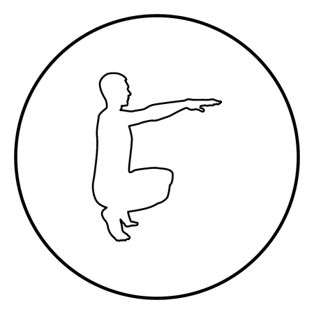 Crouching Man doing exercises crouches squat Sport action male Workout silhouette side view icon black color outline vector illustration flat style simple image in circle round