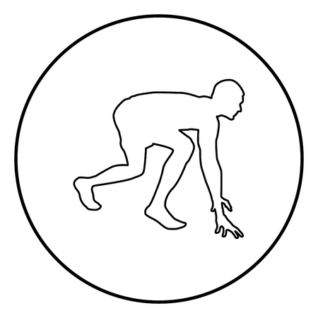 Runner preparing to start running Start running Runner in ready posture to sprint silhouette Ready to start icon black color outline vector illustration flat style simple image in circle round Illustration