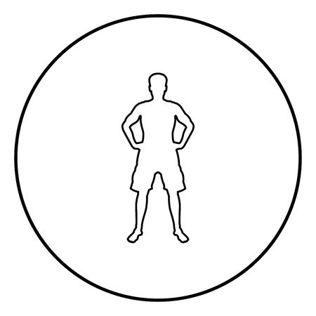 Man holding hands on belt confidence concept silhouette serious master of the situation front view icon black color outline vector illustration flat style simple image in circle round Vetores