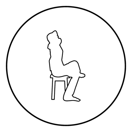 Man sitting pose with hands behinds head Young man sits on a chair with his leg thrown silhouette icon black color outline vector illustration flat style simple image in circle round