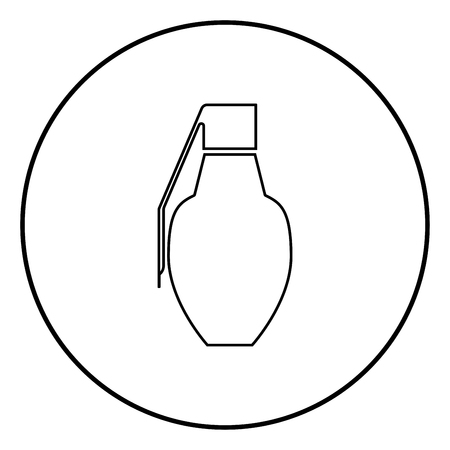 Grenade icon black color outline vector illustration flat style simple image in circle round