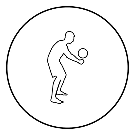 Volleyball player hits the ball with bottom silhouette side view Attack ball icon black color outline vector illustration flat style simple image in circle round