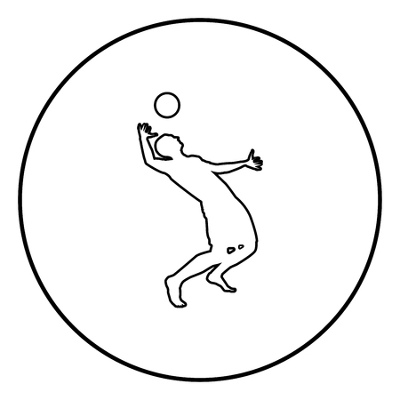 Volleyball player hits the ball with top silhouette side view Attack ball icon black color outline vector illustration flat style simple image in circle round