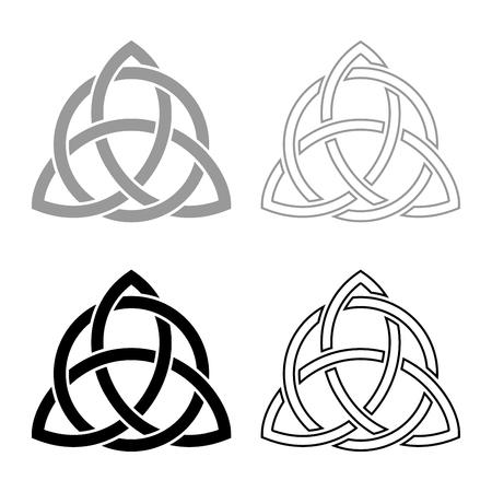 Triquetra im Kreis Trikvetr-Knoten-Form Trinity-Knoten-Symbol Set Grau Schwarz Vektor-Illustration Umriss Flat Style simple Image