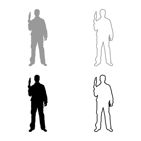 Repairman master man in overalls with tool in his hands electric drill View with front icon set grey black color vector illustration outline flat style simple image Vetores
