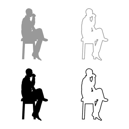 Man drinking from mug sitting on stool with crossed leg Concept relax icon set grey black color vector illustration outline flat style simple image