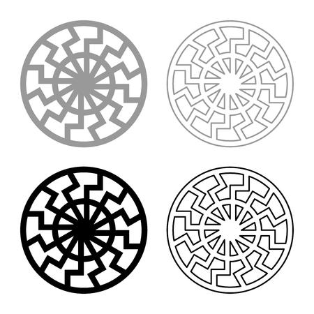 set grey black sun symbol icon set grey black color vector illustration outline flat style simple image Ilustracja